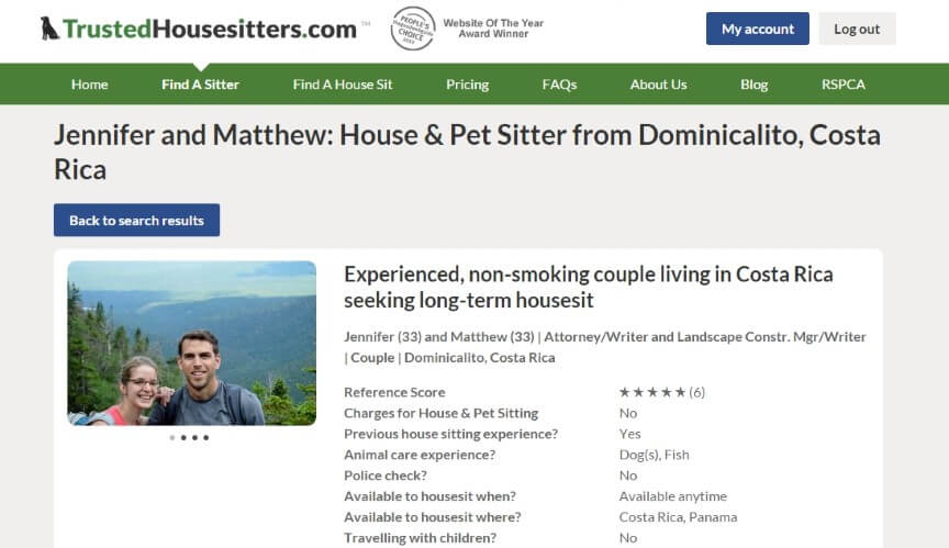 Trusted Housesitters Profile