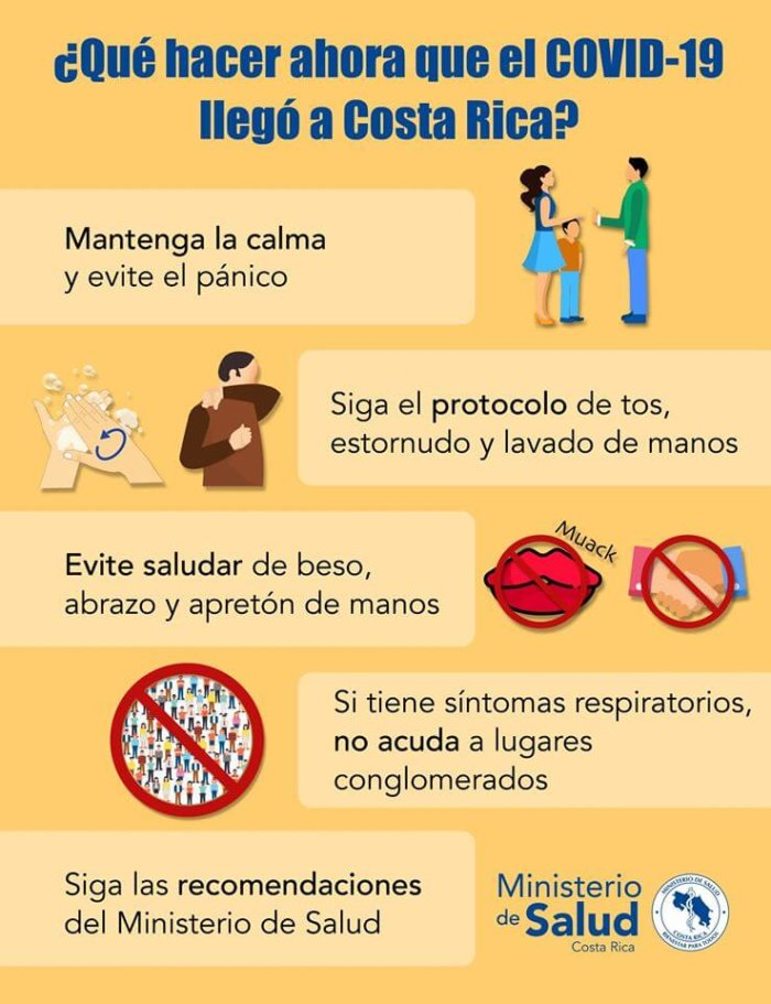 Costa Rica Ministry of Health Guidance Coronavirus