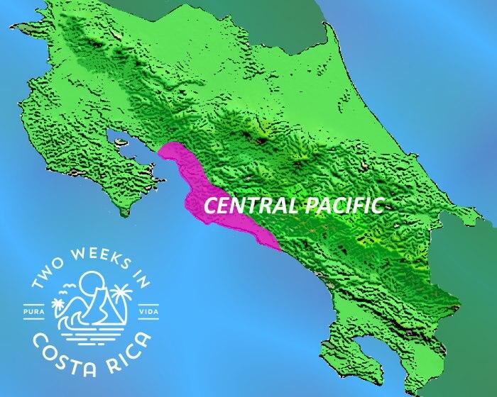 Map Costa Rica Central Pacific Coast Region