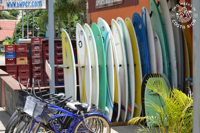 Surf boards in Tamarindo