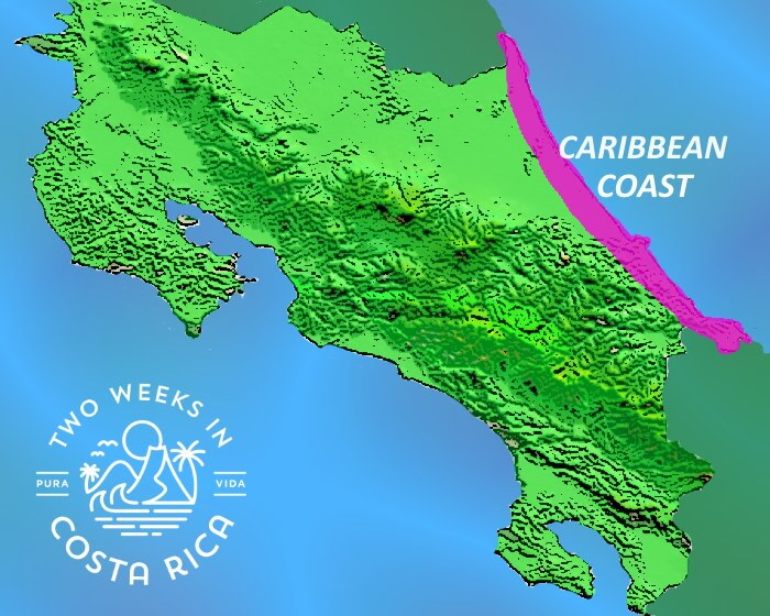 Map Caribbean Coast Costa Rica