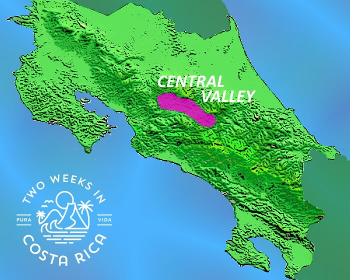 Map Costa Rica Central Valley