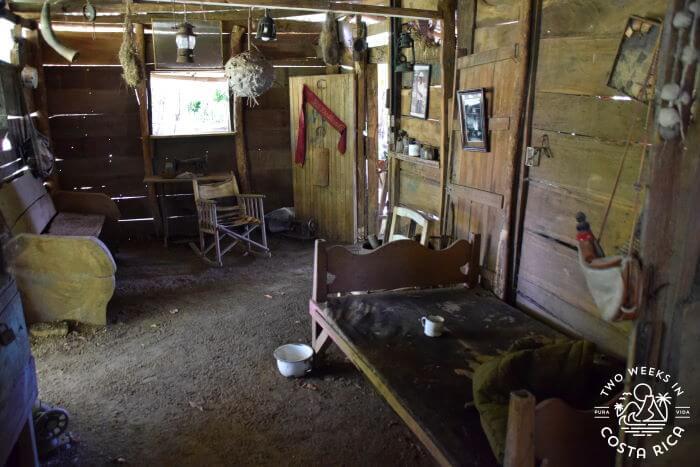 Inside a wooden farmhouse