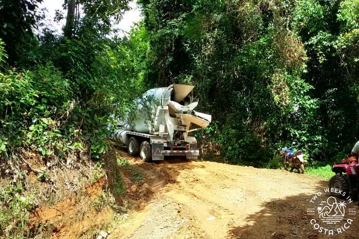 Cement Mixer stuck on a hill in Costa Rica