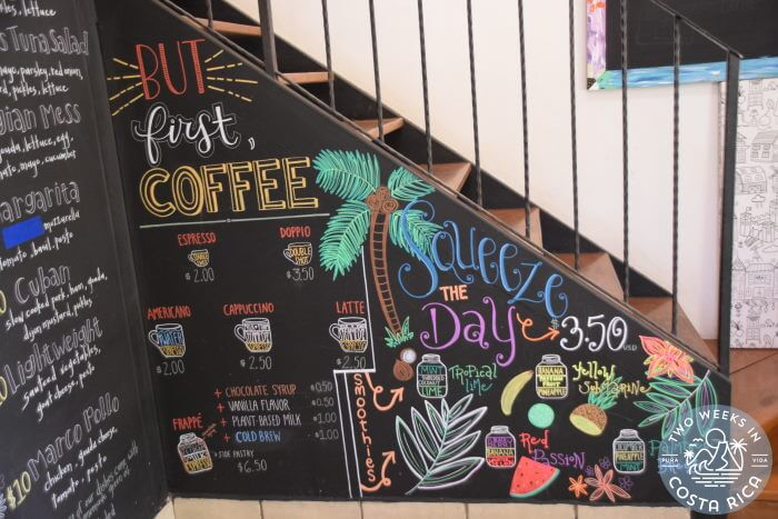 Chalkboard Menu During Covid Costa Rica