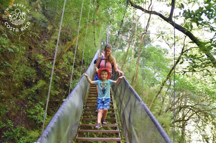 Hanging Bridge with Kids Oropendola Waterfall