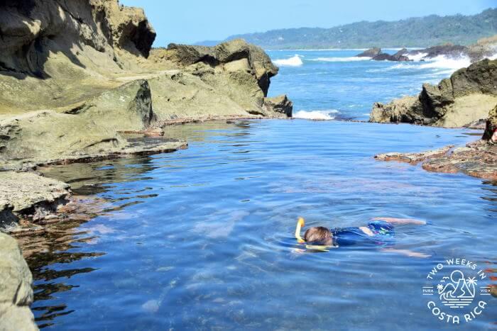 Swimming in tide pool