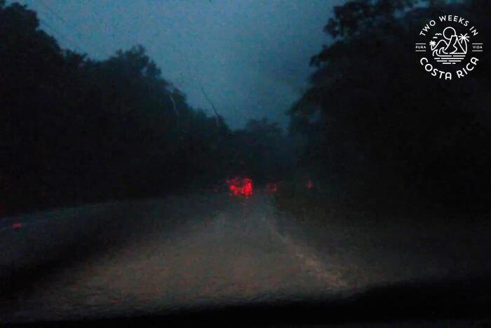 Driving at night rainy season Costa Rica