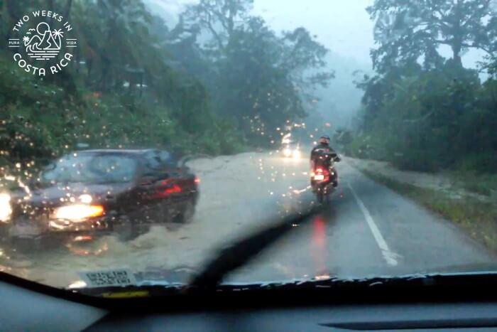 Flooded highway rainy season Costa Rica