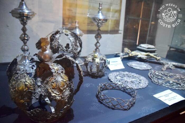 Crowns and metal objects Orosi Museum Religious Art