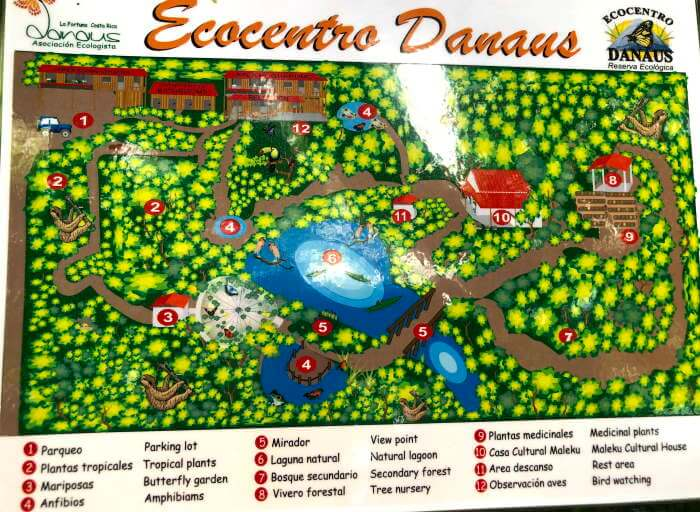 Trail map with points of interest Ecocentro Danaus