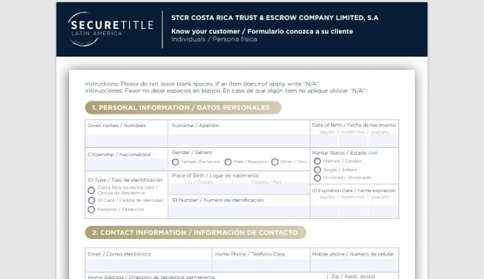 Know Your Customer Form Costa Rica