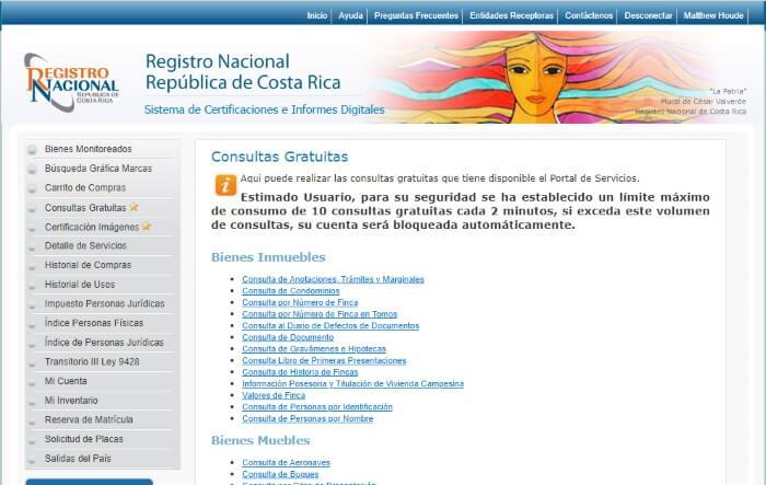 Costa Rica National Registry property lookup